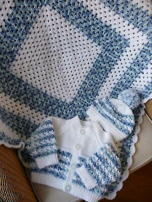 New Hand Knitted Baby Cardigan, Hat & Blanket set ~ 0 - 3 months Blue / White