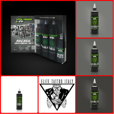 TATTOO SET POLYBIUS INK GAME OVER 50ML + 3Pz SHADER 150ML , TATUAGGIO INCHIOSTRO