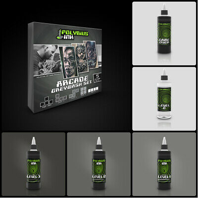 TATTOO SET POLYBIUS INK GAME OVER + 3Pz SHADER + SHADING SOLUTION 150ML , NERI