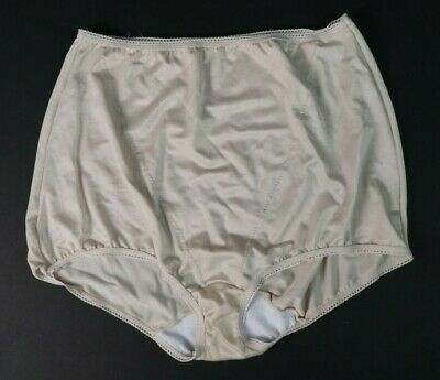 Vtg Playtex 2XL Beige Shiny SUPERLOOK Hi Waisted Granny Panties Mushroom Gusset