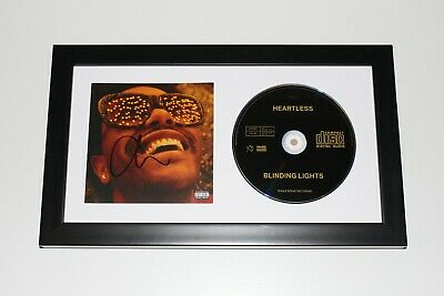 THE WEEKND SIGNED AFTER HOURS FRAMED CD w/COA BLINDING LIGHTS HEARTLESS SINGLE