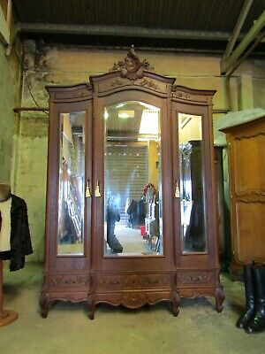 Antique French beautifully carved mirror door oak armoire,wardrobe,Flat packs
