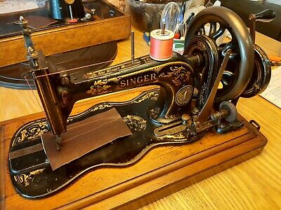 Antique Singer 12k sewing machine  Serviced sews leather .video.