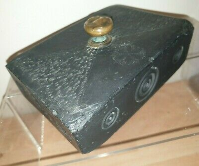 Antique Slate Folk Art Door Stop Brass Knob Hand Made Decorative