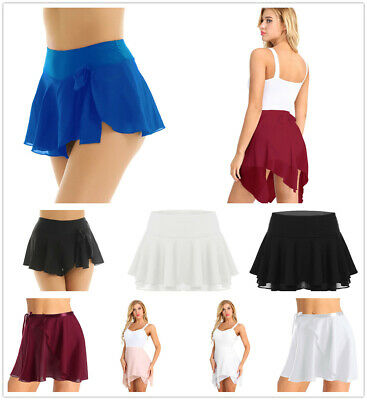Women Girls High Waist Mini Skirt Chiffon Sheer Tennis Ballet Dance Short Dress