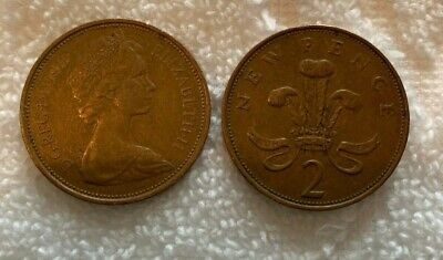 1971 Uk British 2 New Pence Elizabeth Ii Foreign Coin D