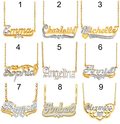 Personlized Sterling Silver 14KGold Double Plated Name Pendant Necklace 18STYLES