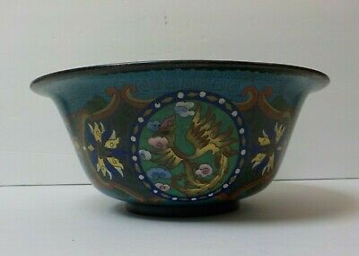 """19th C. Chinese Cloisonne on Bronze 10.25"""" Dragon Bowl, Meiji Period"""