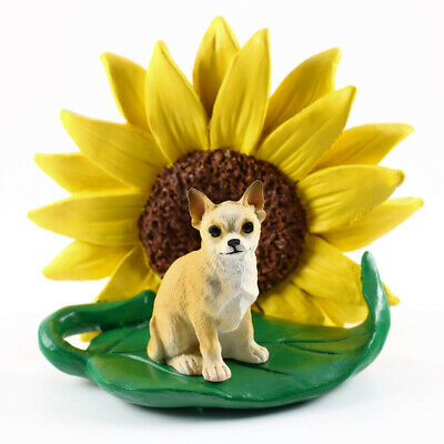 Chihuahua Sunflower Figurine Tan