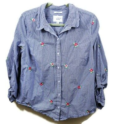 Charter Club Womens Button Up Shirt Blue Stripe Embroidery Relaxed Fit Cotton XL