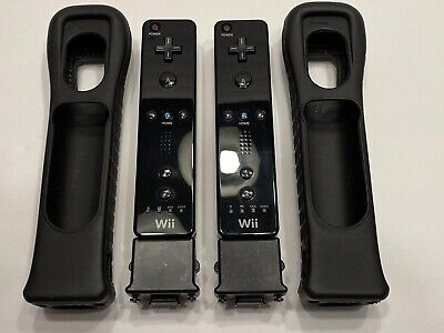 Official Nintendo Wii Remote With Motion Plus Adapter And Jacket - Black Rvl-003