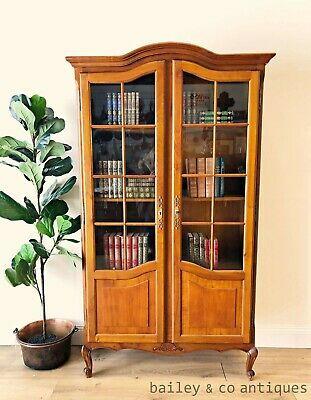 French Vintage Bookcase Vitrine Display Cabinet Louis XV Style - TA094