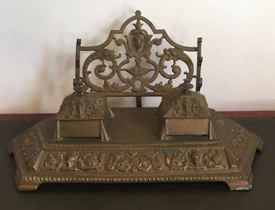 Antique French Inkwell Bronze Double Circa 1800's Rare - h044