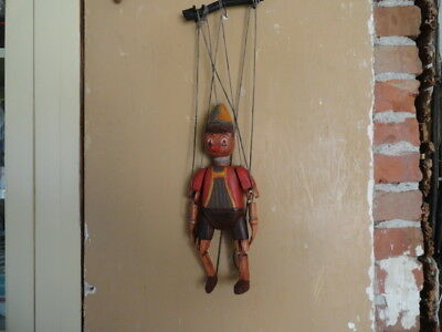 Antique Wood Carved Pinocchio Puppet - Marionette