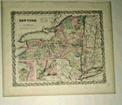 antique map New York State 1856 Colton's Maps  showing railroads etc