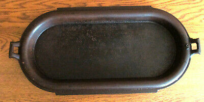 Antique Unmarked Cast Iron Deep Long Oblong Oval Griddle Pan Sad Iron Heater 9