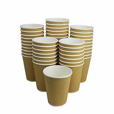 100 Pack 12 OZ Hot Paper Coffee Cups/Insulated Corrugated Ripple Paper