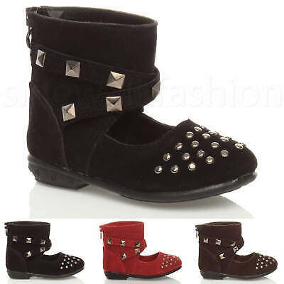 Childrens girls kids toddler baby ankle cuff studded shoe boots booties size