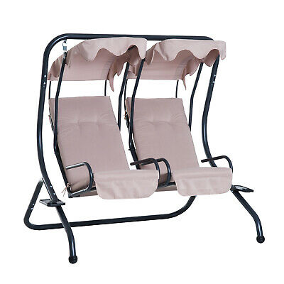 Beige Outdoor Garden Swing Chair Seater Patio Canopy Deck Cushion Drink Tray