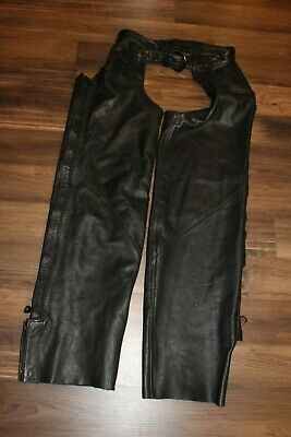 Womens Black Leather Medium Harley Davidsons Lined Chaps Pre-owned