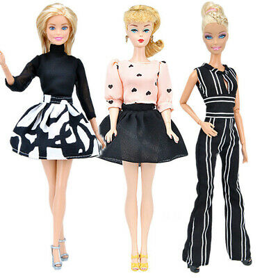 3 Sets Barbie Doll Clothes Clothing Outfit Princess Dress Skirt Tops Accessories