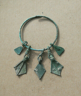 "ANTIQUE 9-10th CENTURY VIKING-AGE BRONZE PAGAN "" DUCK FEET "" AMULET PENDANT RARE"