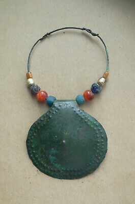"Ancient Scythian Large Bronze ""Noisy"" Pagan Amulet Pendant With Beads Super Rare"
