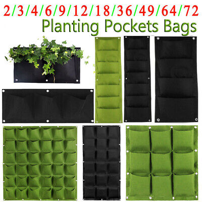 4/9/18/36/72 Wall Hanging Planting Pocket Bag Vertical Flower Grow Pouch Planter