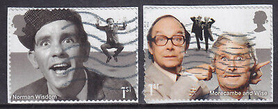 2015 GB Comedy Greats SG 3707-3708 Die Cut Used PM47 Booklet Stamps ON PAPER