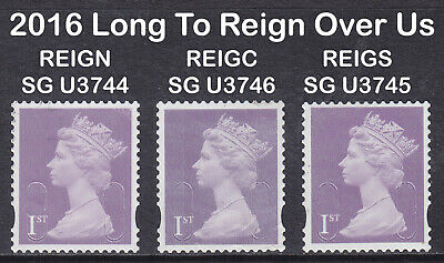 2016 Machin 1st Class Long To Reign Over Us SG U3744-3746 O16R+C+S Set Of 3 Used