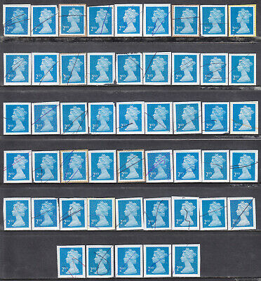 50 x 2nd Class Machin Unfranked Pen Cancelled Used Stamps On Trimmed Paper