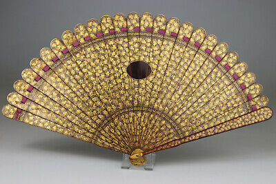 ANTIQUE SUPERB RARE CHINESE EXPORT BRISE FAN CANTON LACQUER GILT - Qing 19TH