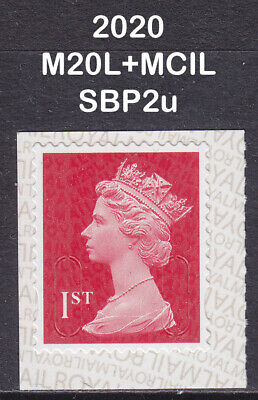 2020 Machin 1st Class Dark Red SG U3027 M20L+MCIL Security SBP2u Booklet Stamp