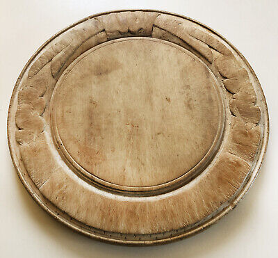 Antique Round Wood Bread Board- Hand Carved