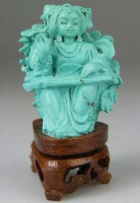 ANTIQUE CHINESE FIGURE KWANYIN LADY STATUE TURQUOISE CARVED CARVING - Qing 19TH