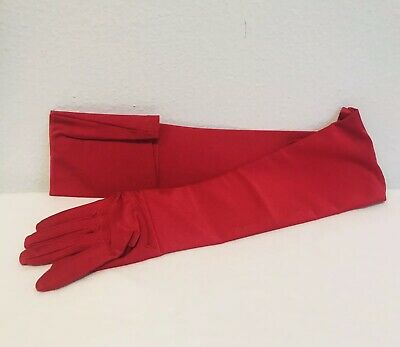 Women's Red Satin Gloves Long Sleeve Costume Opera Party New In Package