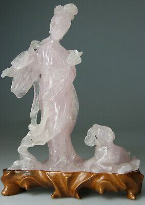 ANTIQUE RARE CHINESE KWANYIN LADY STATUE FIGURE QUARTZ ROSE CARVED - Qing 19TH