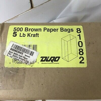 New Duro 5# Grocery Bag Brown Kraft Paper 5 1/4 X 3 7/16 Case of 500