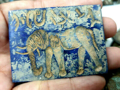 Antique Lapis Stone Seal Intaglio Elephant Mammoth Carved Stamp Color Plate
