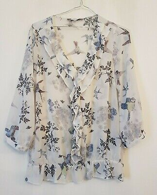Ref 168 - NEXT - Ladies Womens Girls White & Blue Bird Floral Blouse Top Size 12