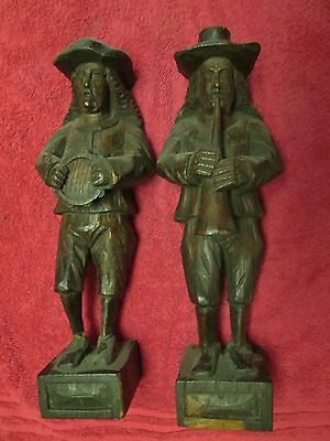 Hand Carved Black Forest Musician Corbels (2)