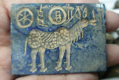 Antique Lapis Stone Seal Intaglio Ancient Horse Carved Stamp Color Plate