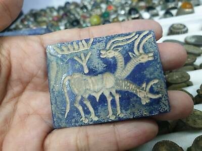 Antique Lapis Stone Seal Intaglio Triple head Creature Carved Stamp Color Plate