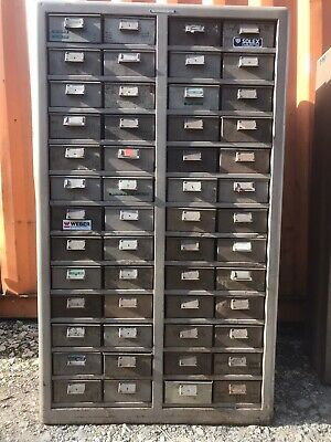 "1  Old Original Vintage "" Colangular "" Steel Cabinet 1950'S, With 52 Drawers."