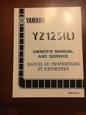 Manuale Yamaha Yz 125 1984 (L) In Inglese e Francese, Cod: 39W-28199-70