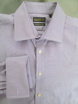 TED BAKER Endurance SHIRT, Purple White Striped, French, Men's 16.5 x 34, USED