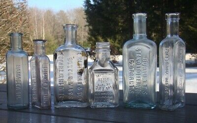 Lot Of Six Embossed Antique Mixed Medicine Health & Cure Bottles