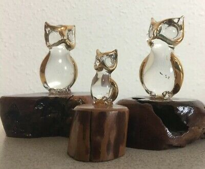 3 Owl Figurines Glass Crystal gold trim Natural Burl Wood Base Vintage Bird Lot