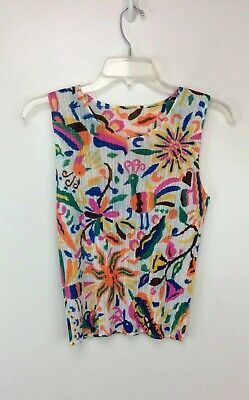 Issey Miyake Pleats Please Multi Color Abstract Pleated Tank Top Shell 4 Japan