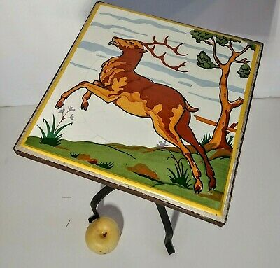 Arts & Crafts California Mission Style MCM Iron Plant Stand Table Stag Tile